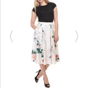 Collectif Theodora Blossom Print Skirt in Ivory